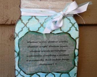 Mason Jar wooden wall plaque