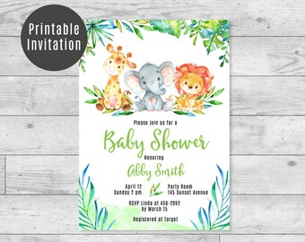 Safari Baby Shower Invitation Giraffe, Elephant, Lion Jungle Animals Gender Neutral Boys & Girls Baby Shower Printable Invite 4x6 5x7 - ID01