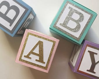 Medium Custom Baby Blocks // Name Blocks // Alphabet Blocks // Baby Shower Decorations // Personalized Blocks // 4 Inch Blocks