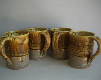 Hand thrown stoneware pottery mugs set of 4  (M-63)