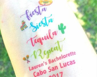 Bachelorette Party Favor / Bachelorette Tattoo Bachelorette Party Tattoo - Fiesta Siesta Tequila Repeat - Beach Bachelorette - Beach Wedding