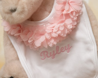 Baby Girl Embroidered White Bib Baby Girl Personalized Bib with Fluffy Chiffon