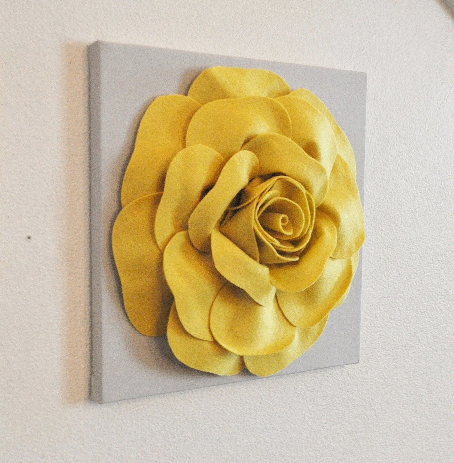 Home Decor Wall Hanging -Mellow Yellow Rose on Gray 12 x12\