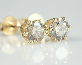 Diamond Gold Earrings-14K Yellow Gold Earrings-0.70 Carat- Bridal Jewelry-Women Jewelry- Graduation gift-Anniversary gift- Men earrings