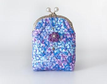 5'' Clutch Bag, Handbag, Kisslock - Hydrangea Petals Purple