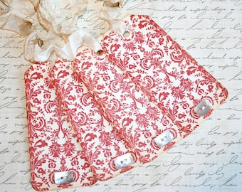 Red Damask Gift Tags // Set of 4 Gift Tags // Holiday Gift Tags // Shabby Chic Gift Tags