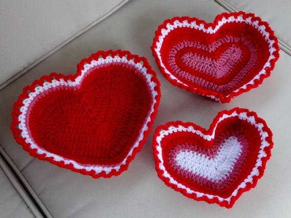 Trio Of Heart Shaped Baskets Crochet Pattern