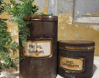 Vintage herbal tins- latin labels