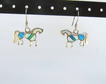 Native American Sterling Silver and Channel Inlay Opal Horse Dangle Earrings - 1978