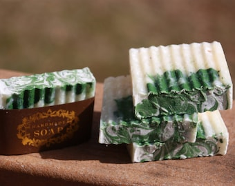 Winter Green, handmade soap, artisan soap, essential oils, cold processed soap, holiday gifts