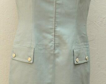 Vintage 60s green vichy dress Size 38 FR