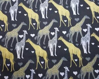 Giraffe Fabric, Yellow and Black, Animal Fabric, Fat Quarter or Yardage, Savannah Animals, Quilting Fabric, Safari, FBTY, Craft Fabric