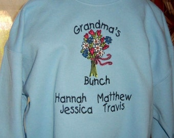 Personalized Grandma Sweatshirt with Grandma's Bunch Design