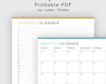 Monthly Planner, Calendar & List View - Fillable - Time Management - Printable Organizational PDF - 3 colours - Instant Download