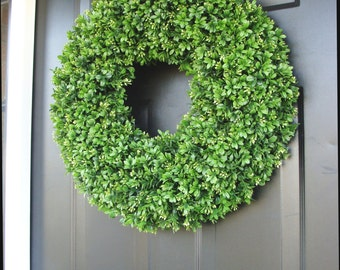 Outdoor Wedding Wreath- XXL Faux Boxwood Wreath- Wedding Decor- Church Door Decor- Reception Decor