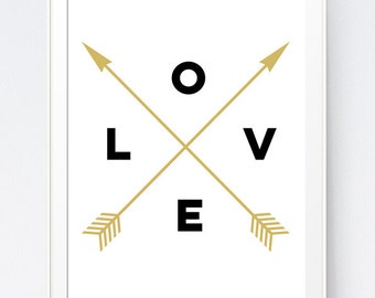 Black and Gold Love Crossed Arrows Print, White and Gold Nursery Wall Print, Black and Mustard Office Decor, Love Arrows INSTANT DOWNLOAD