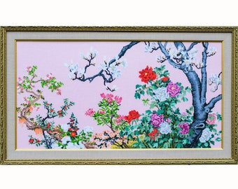 cross-stitch embroidery a flowering garden with magnolia and roses