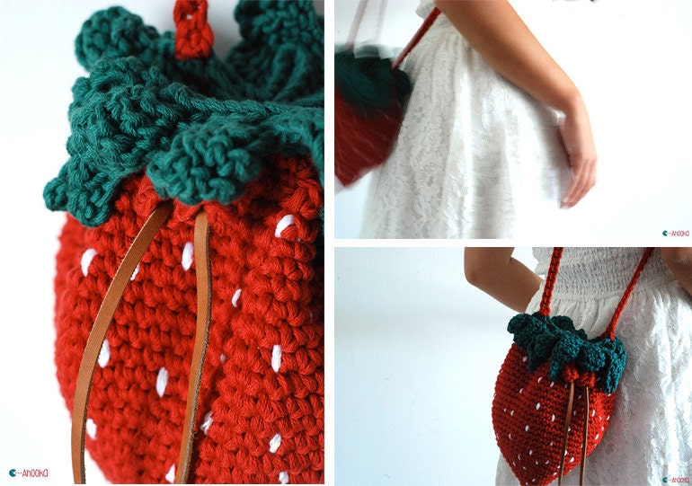 Pdf pattern strawberry bag crochet pattern fruit purse crochet this is a digital file dt1010fo