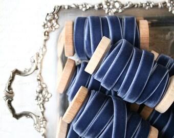 """Slate Blue Velvet Ribbon, Slate Velvet Ribbon, 3/8"""" Velvet Ribbon, Velvet Ribbon Spool, 3 yards, Blue Velvet Ribbon, Slate Blue Wedding"""
