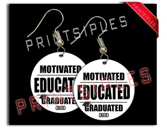Educted Graduation Earrings Gift Jewelry Humor 2018 Motivated Graduated