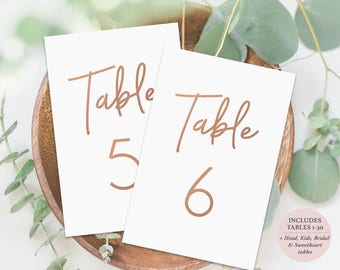 Rose Gold Table Numbers Set of 30 - 4x6 Inches - Printable Table Cards - Wedding Table Cards - Instant Download - Printable PDF - #GD0417