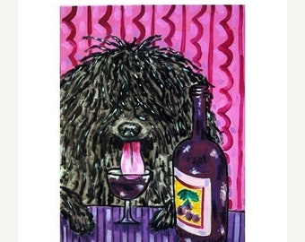 25% off Puli at the Wine Bar Dog Art print