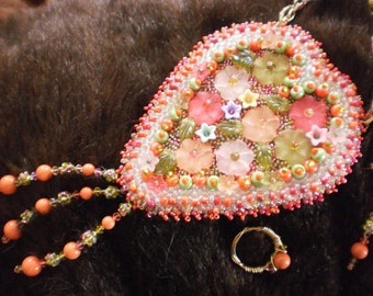 Beadweaving, Embroidery, Wire Wrap Summer Love Bouquet Necklace