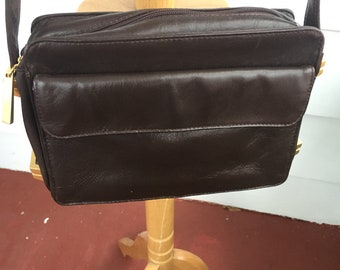 PERLINA vintage brown leather messenger crossbody bag