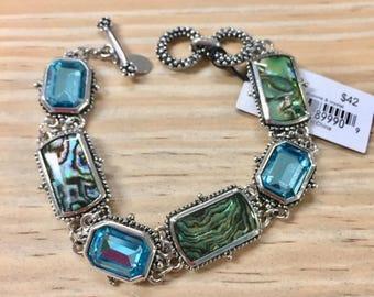 Abalone and Crystal Stone Toggle Bracelet