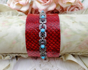 Vintage Jeweled Red Leather Cuff Bracelet, Turquoise and Red Cuff Bracelet, Jeweled Cuff, Boho Style Red Leather Cuff