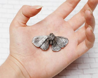 Perseverance Silver Moth Brooch Pin Cast Insect Butterfly Taxidermy Positive Thinking Woodland Dark Mori Strega Witch Gothic Goth Metallic