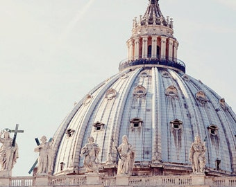 rome photography, italy photography, st peters square, architecture, church decor, religious decor, St Peters Basilica Dome R12