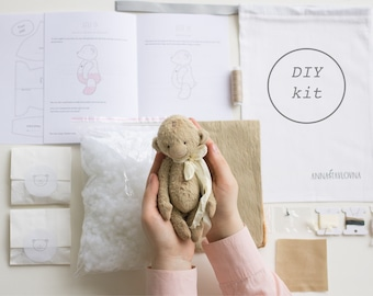 Mohair Monkey 7 Inches DIY Kit Stuffed Monkey Sewing Kit Stuffed Animals Soft Toys Craft Kit Artist Teddy Bear Crafter Gift Ready To Ship