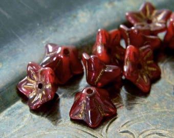 Darling Scarlet (10) -Czech Glass Bell Flowers 9x6mm