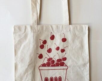 Cherry Tote Bag, Market Tote, Fruit Tote, Reusable Bag