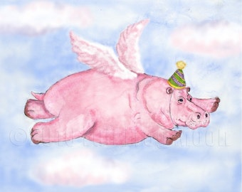 Flying Pink Hippopotamus in a Party Hat Print