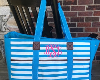 Turquoise Stripe Monogram Tote Bag-Monogram Beach Bag-Embroidered Beach Bag-Personalized-Towel Tote