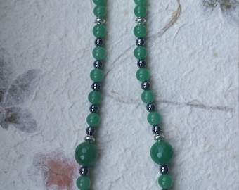 Green aventurine necklace Hematite