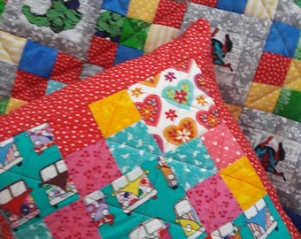 100% Cotton Handmade Campervan patchwork quilted cushion cover.