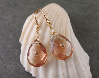 Oregon sunstone earrings, handmade 14k solid gold, peach schiller sunstone and topaz earrings-OOAK