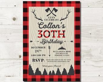 30th Birthday Invitations for Him 30th for him invitation lumberjack 30th adult birthday mens birthday Jacob AP02 Printable or Printed