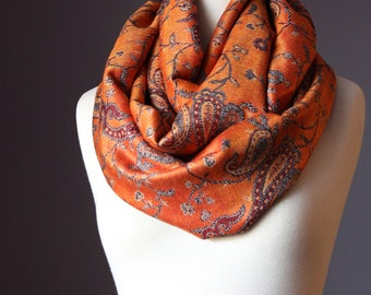 Vintage paisley brocade orange scarf, fall/winter accessories, neckwear for women