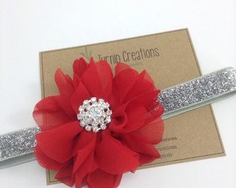 Red & Silver Headband Valentines Headband Ballerina Flower Headband Glitter Wedding Flower Girl Headband Rhinestone