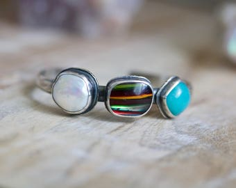 Surfite Bracelet, Amazonite Cuff, Pearl Sterling Silver Cuff Bracelet... The Calling Sea...