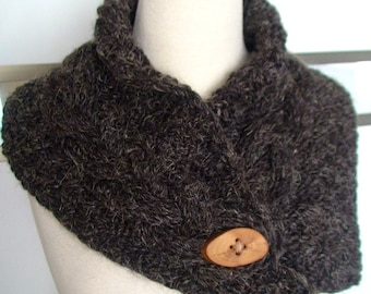 Brown Scarf Cowl Neck Warmer Handknit Cabled