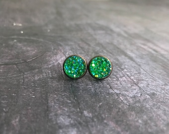 Christmas Green Druzy Earrings, Titanium Druzy, Druzy Studs, Druzy Set, Pick two