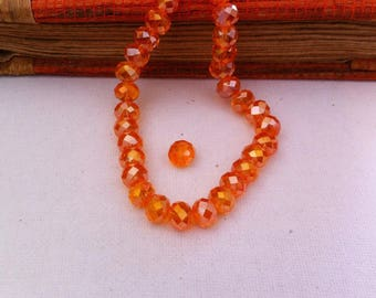 9 Austria Crystal beads, faceted Tangerine color in 6.5 X 8 mm