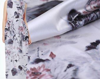 Lotus Floral Print Gray Stretch Silk Satin Fabric Width 42 inch