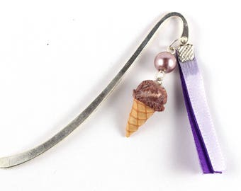 Chocolate ice cream book mark, and purple ribbons.