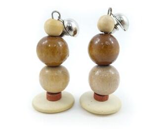 Vintage, Wood Bead Earrings, Dangles, Posts, STJ5